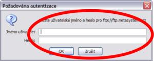 Požadována autentizace - Mozilla Firefox